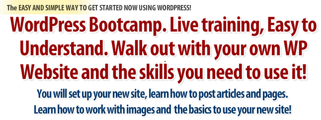 Learn how to use WordPress at WordPress bootcamp, WordPress Bootcamp Skills, Get a WordPress Website today